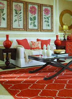 Arabesque rug in Saffron looks great in this room! #CapelRugs