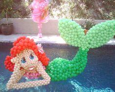 Floating Mermaid made by balloon artist #birthday #party #moms pool parties, mermaid parti, birthday parties, pool fun, the little mermaid, balloon, parti idea, 21 birthday, birthday ideas
