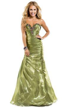 Shimmer moss prom dress with jeweled sweetheart neckline | Flirt Prom #flirtprom #green #prom #dress