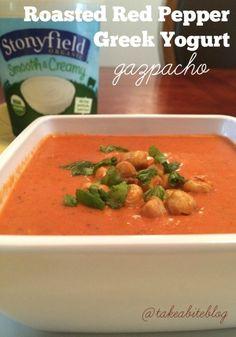 Roasted Red Pepper Greek Yogurt Gazpacho