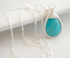 Turquoise Necklace  Wire Wrapped Necklace by Jewels2Luv on Etsy, $32.50