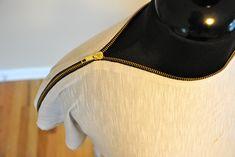 Trash To Couture: My Zipper Tee DIY tutorial...Tshirt Recycle diy shirt, diy fashion, diy tutorial, men shirts, old shirts, diy clothing, zipper, diy clothes, t shirts