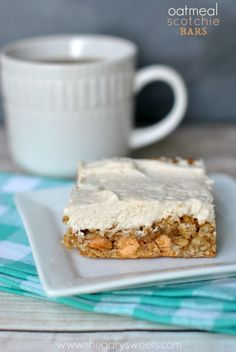 Soft Oatmeal Scotchie Bars topped with a light and creamy Cinnamon frosting! So good, so easy!