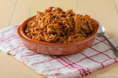 Slow Cooker BBQ Pulled Pork is made with all natural ingredients and tastes just like traditional pulled pork.  #pulledpork #recipe #healthy #pork