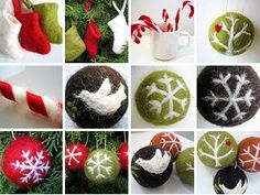 ball ornament, christma felt, ornament inspir, christmas ornaments, christma ornament, felt ornament