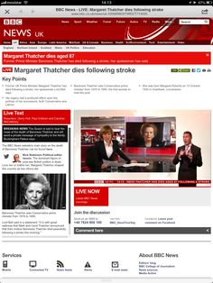 Especial BBC: muere Margaret Thatcher http://www.bbc.co.uk/news/uk-22066982#TWEET714935