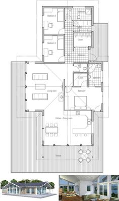 Small house plan, vaulted ceiling, spacious interior, floor plan with three bedrooms, small home design with open planning.
