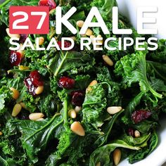 27 Kale Salad Recipes- packed with antioxidants and vitamins. I just bought a ton of kale!! I need these recipes.