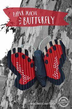 Paper Mache Butterfly | MollyMooCrafts.com for #kidsactivitiesblog