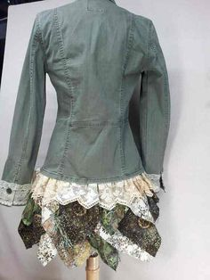 Upcycled khaki Jacket with Antique Lace and von CuriousOrangeCat, $95.00 upcycl khaki, upcycl cloth, khaki jacket, antique lace, jackets, antiqu lace, upcycled clothing, antiques, upcycled jacket