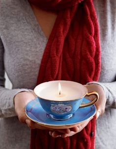 Teacups offer elegant vessels for candles.  Re-purpose china from old place settings, mixing and matching pieces — or single out a favorite new find.