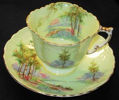 Aynsley Country Bluebell Time Scenic Minty Lime Tea cup and saucer