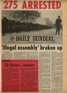 Front page of the Daily Sundial, campus newspaper at San Fernando Valley State College, January 10, 1969. Those arrested were gathered at the Open Forum area. Among those arrested were eight faculty members and the campus minister. All were charged with failure to disperse after being warned. CSUN University Digital Archives.