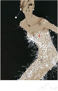 """David Downton fashion illustration. Beautiful technique to illustrate the """"shimmer"""" of the """"fabric"""" ... works so well!"""
