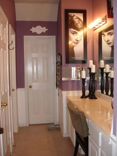 Love the eggplant walls, nice picture too Master Bathroom