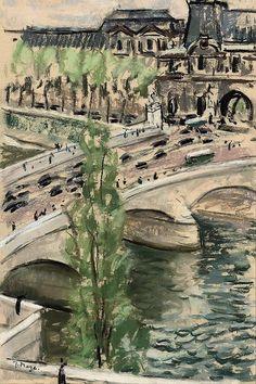 Pont de Louvre, Paris, Paul Maze. (1887 - 1979)