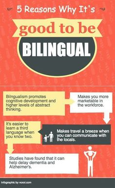 """Bilingual poster: """"5 reasons why it's good to be bilingual"""""""