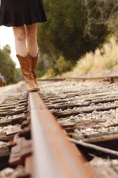 kid pics, train tracks, senior session, railroad tracks, cowboy boots, pointe shoes, birthday pictures, photography poses, senior pics