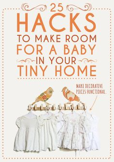 25 Hacks To Make Room For A Baby In Your Tiny Home- Space is no excuse not to have a baby!! bird, wall hooks, little girls, baby girl dresses, nurseri, mermaid dresses, baby girls, little girl rooms, babies rooms