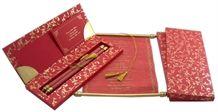 Stunning paisley design printed romantic red wedding card.