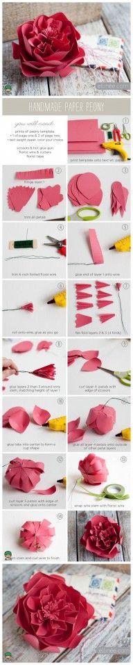 Origami instruction site, fun, fun,funPaper Peony Flower Folding Instructions