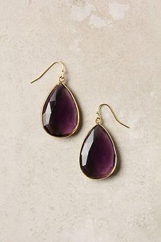 amethyst purple, art amethyst, accessori, anthropologie, tear drop earrings, closet, pretti purpl, rung earring, gold earrings