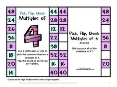 Kids love these Multiples Flip Cards - students use a clothespin to clip the multiples then flip over to check. 11 Clip, Pick, Check Division cards. $