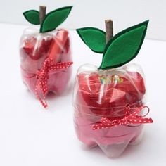 Make a super cute apple treat or gift holder with recycled plastic bottles