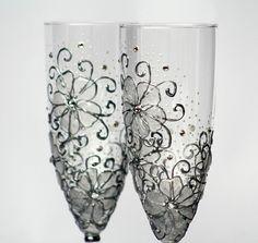 MADE to ORDER Swarovski Crystal Gel Flowers Wedding Champagne Flutes Hand Painted Set of 2. $49.80, via Etsy.