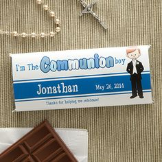 Cherish your child's big day with the I'm The Communion Boy Personalized Candy Bar Wrappers. Find the best personalized First Communion gifts at PersonalizationMall.com