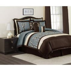 @Overstock - Add a fresh-picked look to your bedroom decor with this Cocoa Flower comforter set. This comforter features floral embroidery and pintuck detailing for a natural, sophisticated style.http://www.overstock.com/Bedding-Bath/Lush-Decor-Blue-Cocoa-Flower-8-piece-Comforter-Set/5323594/product.html?CID=214117 $135.89
