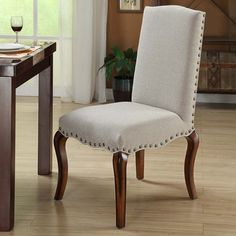 Armen Living Madeleine Vintage French Fabric Chair (Set of 2)