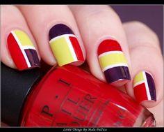 Colorful Block Nails in red opi , yellow and plum. #nailart #nails #polish #mani - Share/explore more nail looks at bellashoot.com!