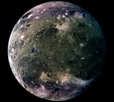 Ganymede Mosaic (Mar 4 1999)  Credit: Galileo Project, DLR, JPL, NASA Ganymede, one of the four Galilean moons of Jupiter, is the largest moon in the Solar System. With a diameter of 5,260 kilometers it is even larger than planets Mercury and Pluto and just over three quarters the size of Mars. Ganymede is locked in synchronous rotation with Jupiter. This detailed mosaic of images from the Galileo spacecraft shows the trailing hemisphere of this planet-sized moon.