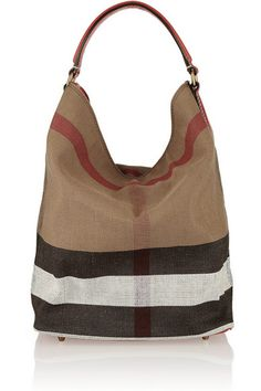 Burberry Signature Checked Canvas Shoulder Strap Hobo With Removable Pouch for Organization