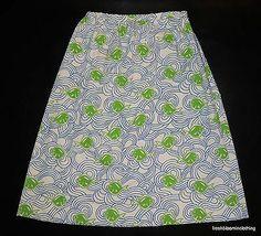 Vtg The Vested Gentress Fish Skirt White Blue Green Hand Screened Fits M L | eBay