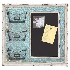 The perfect accent for your mudroom or kitchen decor, this charming wall-mount memo board showcases 3 openwork metal baskets for stowing keys and receipts, a...
