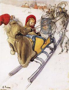 goats, hors, artists, sweden, sleigh rides