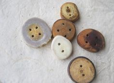 Assorted Artisan Buttons made in USA.  This gorgeous set of 6 buttons was crafted from natural materials, ethically.   The antler buttons were crafted from the naturally-shed antler of a whitetail deer, 100% cruelty-free.   The wooden buttons were made using the fallen branches of trees.