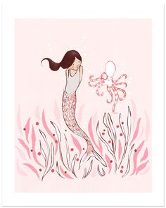 Children's Wall Art Print - The Mermaid & The Octopus- 8x10 - Girl Kids Nursery Room Decor. $26.00, via Etsy.