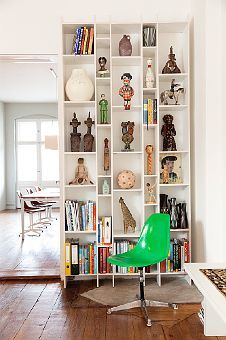 Home of Olaf Hajek / The Selby chair, idea, bookcases, green, shadow box, shelving, display cases, display shelves, homes