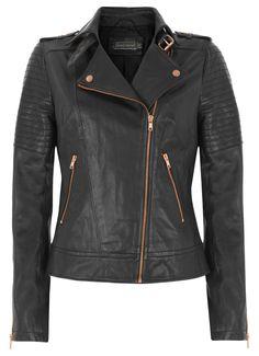 Mint Velvet Black Zip Leather Biker Jacket £259.00