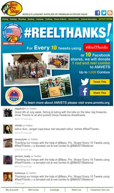 In this email, Bass Pro Shops used deep linking to Twitter with a pre-populated tweet to allow subscribers to tweet their support for American veterans. #emailmarketing #retail #socialmedia