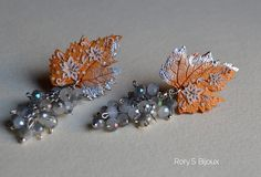 VINEYARD IN WINTER | Polymer clay leaf earrings with delicate faux embroidery. By Rory's Bijoux