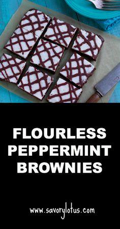 Flourless Peppermint Brownies (gluten and grain free, paleo)   savorylotus.com