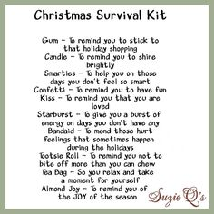 Christmas Survival Kit includes Topper and Card by SuzieQsCrafts, $1 ...