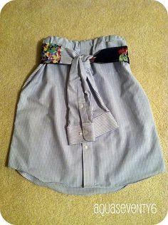 Mans Dress Shirt converting to a Womans Skirt #diy #repurpose #upcycle--- DJ hated this, mine was the no sew version though.  I like it regardless dress shirts, dresses, men shirts, man dress, women's skirts, blues, belts, aqua seventi, flirti skirt