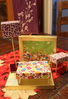 DIY: Dollhouse furniture. Cute idea to Go along with an up cycled dollhouse.