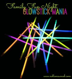 Family Fun Night: Glowstick Mania. 6 fun ways to get glowing. You've never had so much fun in the dark! famili fun, glow sticks, famili game, family fun night, families, famili night, kid parties, glowstick mania, family night