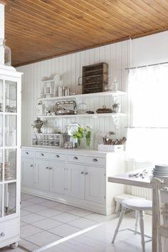 decor, open shelves, beach cottages, countri kitchen, wood ceilings
